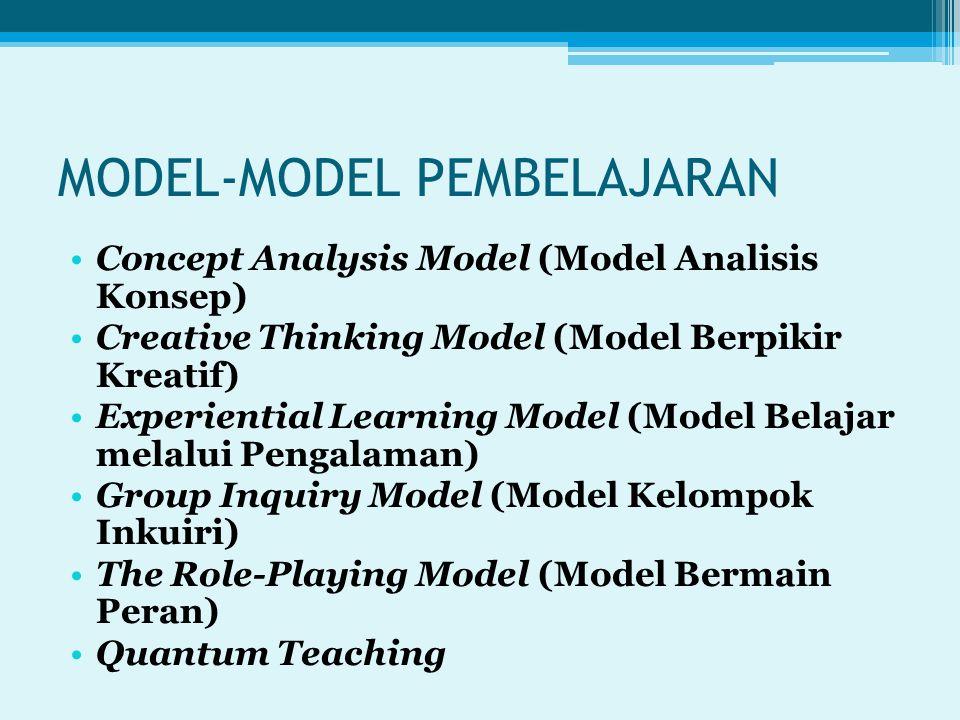 MODEL-MODEL PEMBELAJARAN Concept Analysis Model (Model Analisis Konsep) Creative Thinking Model (Model Berpikir Kreatif) Experiential Learning Model (Model Belajar melalui Pengalaman) Group Inquiry Model (Model Kelompok Inkuiri) The Role-Playing Model (Model Bermain Peran) Quantum Teaching