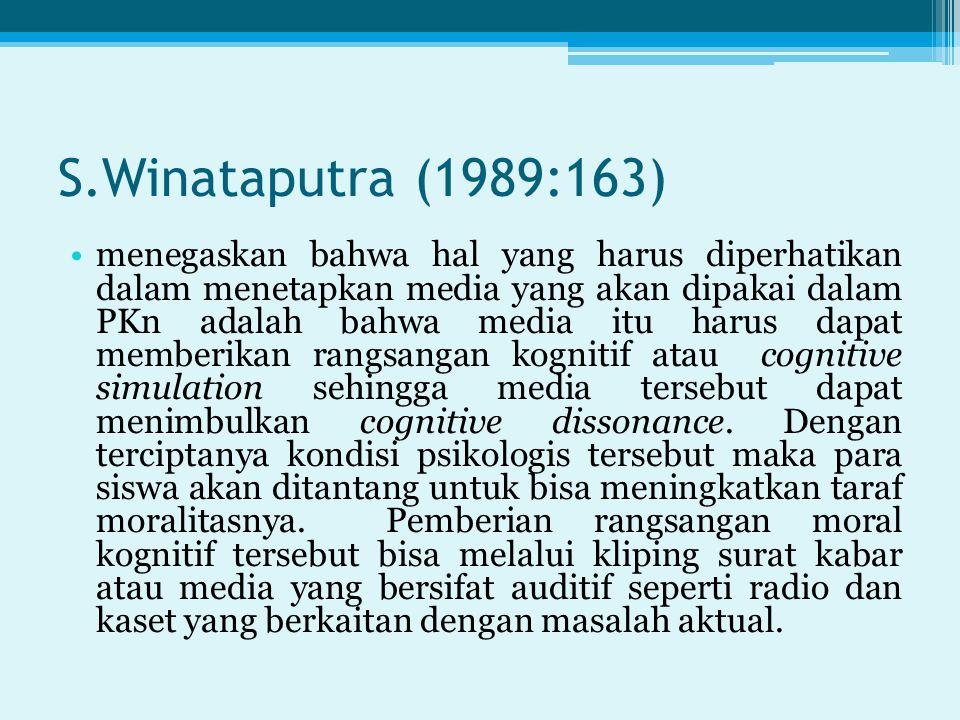 S.Winataputra (1989:163) menegaskan bahwa hal yang harus diperhatikan dalam menetapkan media yang akan dipakai dalam PKn adalah bahwa media itu harus dapat memberikan rangsangan kognitif atau cognitive simulation sehingga media tersebut dapat menimbulkan cognitive dissonance.