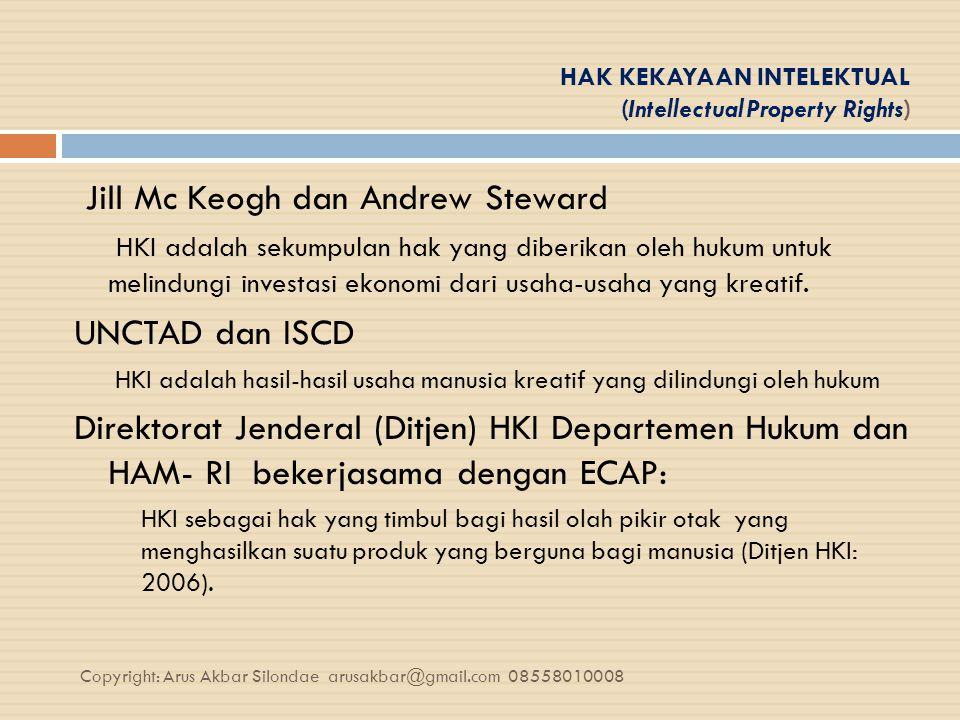 HAK KEKAYAAN INTELEKTUAL (Intellectual Property Rights) Jill Mc Keogh dan Andrew Steward HKI adalah sekumpulan hak yang diberikan oleh hukum untuk mel