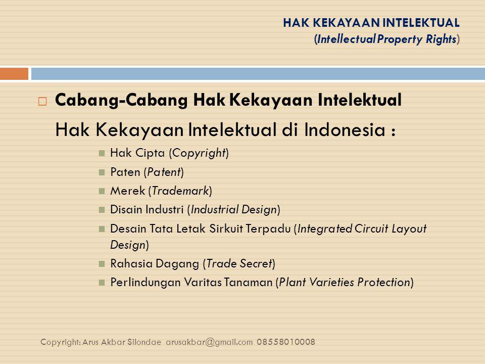 HAK KEKAYAAN INTELEKTUAL (Intellectual Property Rights)  Cabang-Cabang Hak Kekayaan Intelektual Hak Kekayaan Intelektual di Indonesia : Hak Cipta (Co