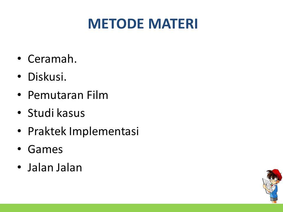 METODE MATERI Ceramah. Diskusi. Pemutaran Film Studi kasus Praktek Implementasi Games Jalan Jalan