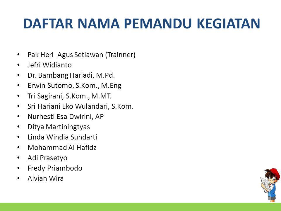 DAFTAR NAMA PEMANDU KEGIATAN Pak Heri Agus Setiawan (Trainner) Jefri Widianto Dr.