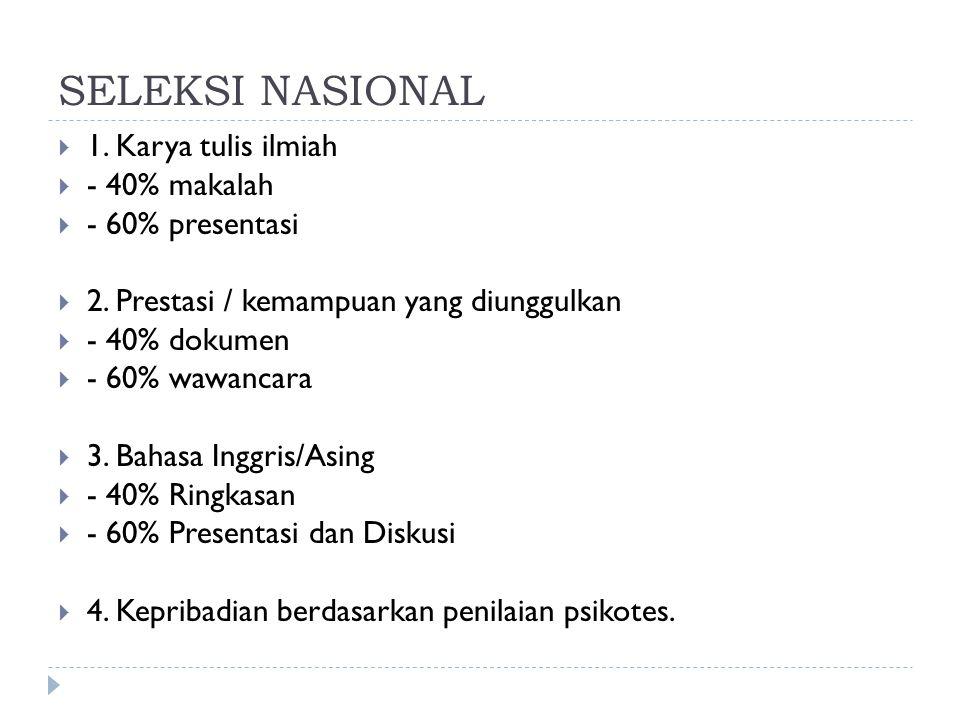 SELEKSI NASIONAL  1. Karya tulis ilmiah  - 40% makalah  - 60% presentasi  2. Prestasi / kemampuan yang diunggulkan  - 40% dokumen  - 60% wawanca
