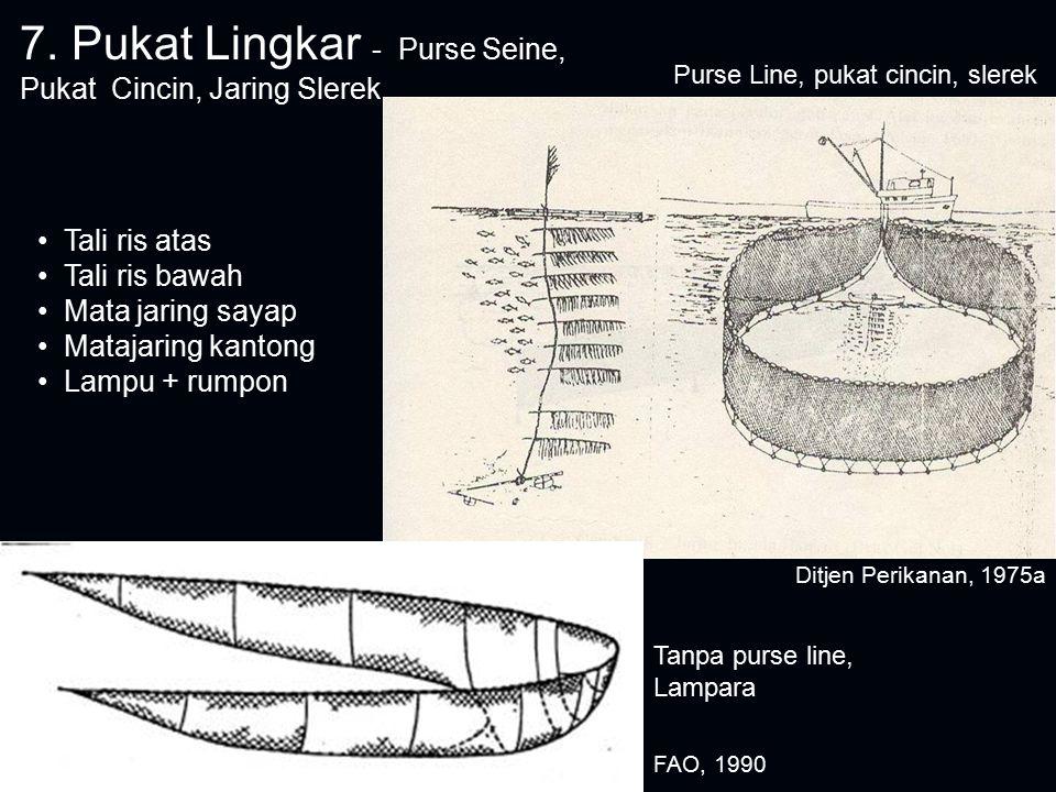 7. Pukat Lingkar - Purse Seine, Pukat Cincin, Jaring Slerek Tanpa purse line, Lampara Purse Line, pukat cincin, slerek Tali ris atas Tali ris bawah Ma
