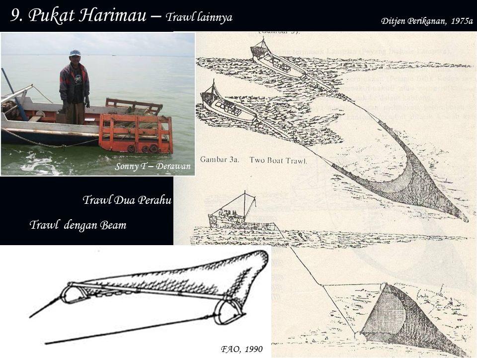 9. Pukat Harimau – Trawl lainnya Otter Board Trawl Dua Perahu Trawl dengan Beam Sonny T – Derawan FAO, 1990 Ditjen Perikanan, 1975a