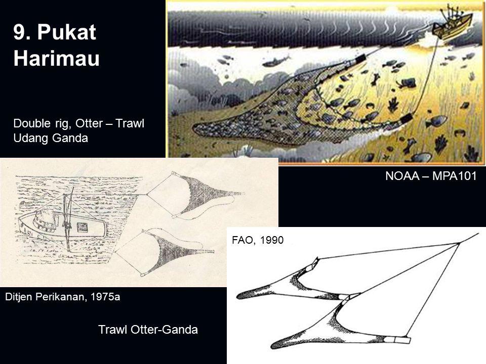 9. Pukat Harimau Double rig, Otter – Trawl Udang Ganda Trawl Otter-Ganda NOAA – MPA101 FAO, 1990 Ditjen Perikanan, 1975a