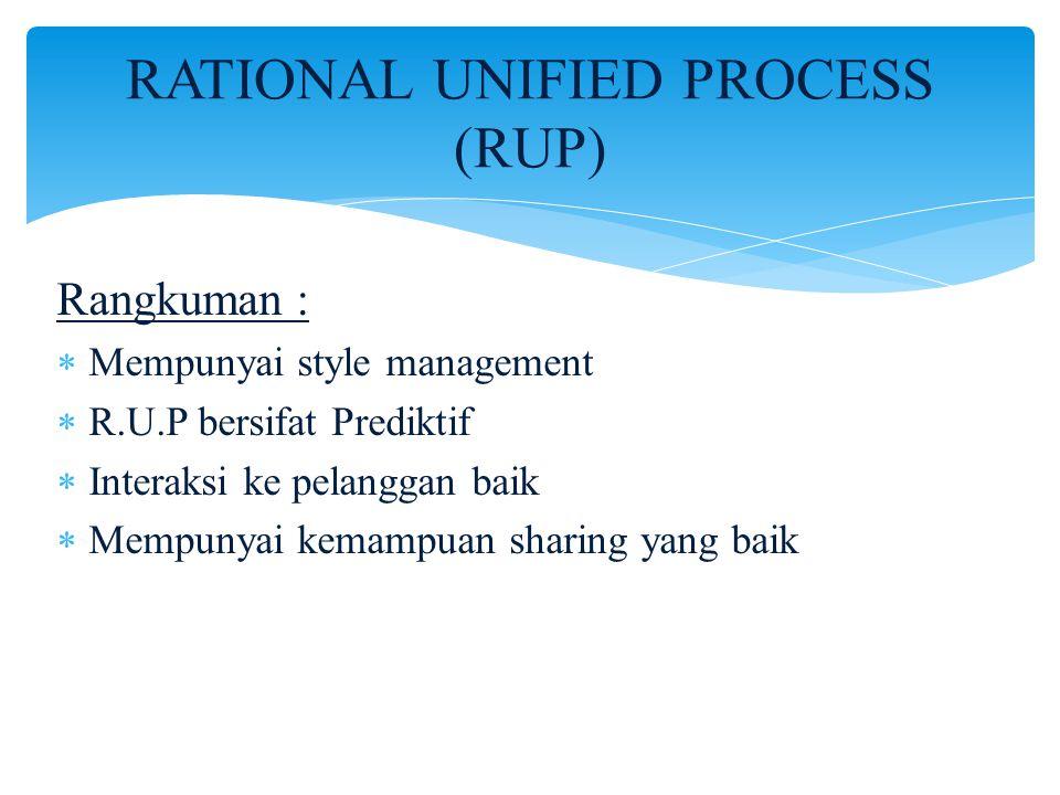 RATIONAL UNIFIED PROCESS (RUP) Rangkuman :  Mempunyai style management  R.U.P bersifat Prediktif  Interaksi ke pelanggan baik  Mempunyai kemampuan