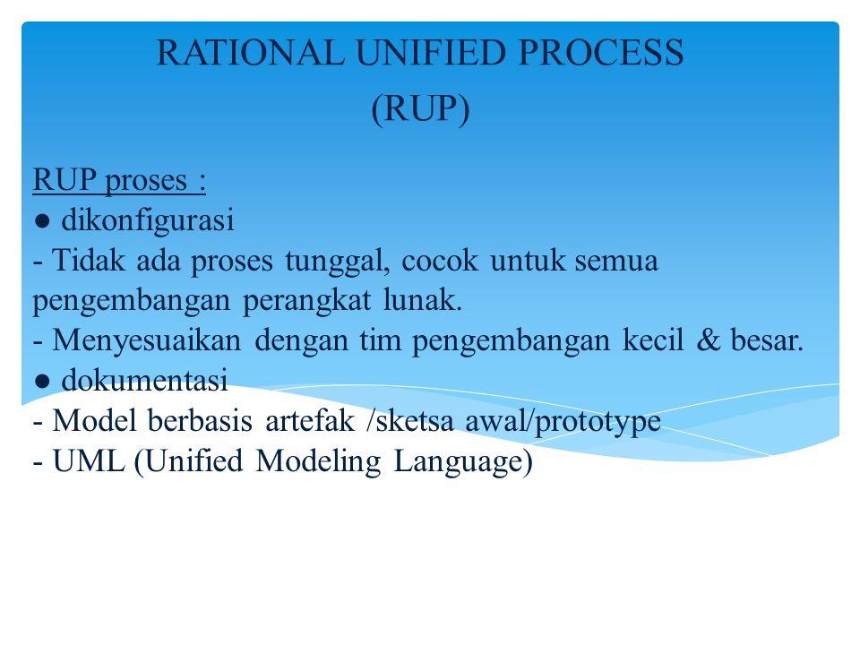 RUP proses : ● dikonfigurasi - Tidak ada proses tunggal, cocok untuk semua pengembangan perangkat lunak. - Menyesuaikan dengan tim pengembangan kecil
