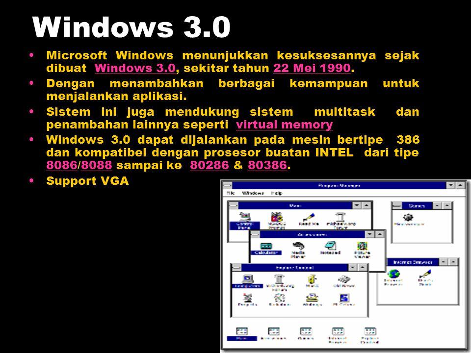 Microsoft Windows menunjukkan kesuksesannya sejak dibuat Windows 3.0, sekitar tahun 22 Mei 1990.Windows 3.022 Mei 1990 Dengan menambahkan berbagai kem