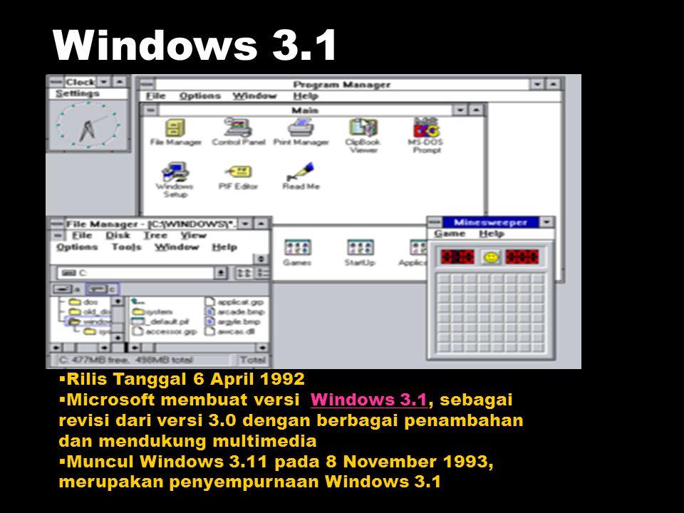  Rilis Tanggal 6 April 1992  Microsoft membuat versi Windows 3.1, sebagai revisi dari versi 3.0 dengan berbagai penambahan dan mendukung multimediaW