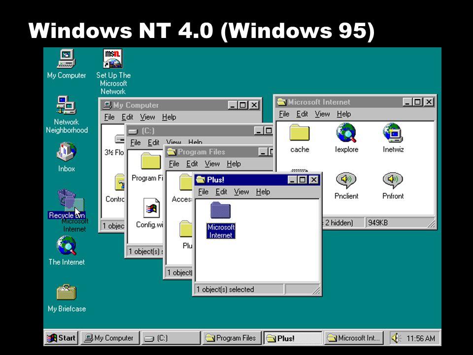 Microsoft mengeluarkan Windows NT 4.0, sebagai kelanjutan dari Windows 95 yang terlebih dahulu dirilis. DI Rilis tanggal 24 Agustus 1995 Diperkenalkan
