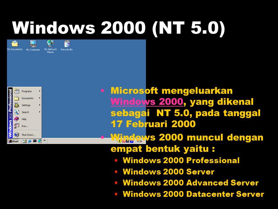 Windows 2000 (NT 5.0) Microsoft mengeluarkan Windows 2000, yang dikenal sebagai NT 5.0, pada tanggal 17 Februari 2000 Windows 2000 Windows 2000 muncul