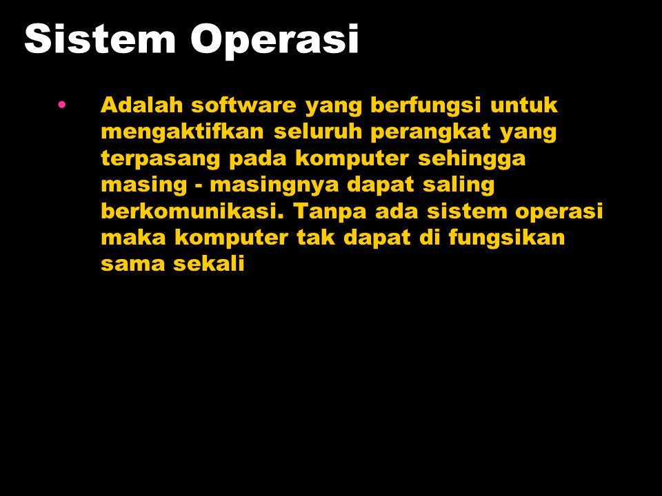 Sistem Operasi Adalah software yang berfungsi untuk mengaktifkan seluruh perangkat yang terpasang pada komputer sehingga masing - masingnya dapat sali
