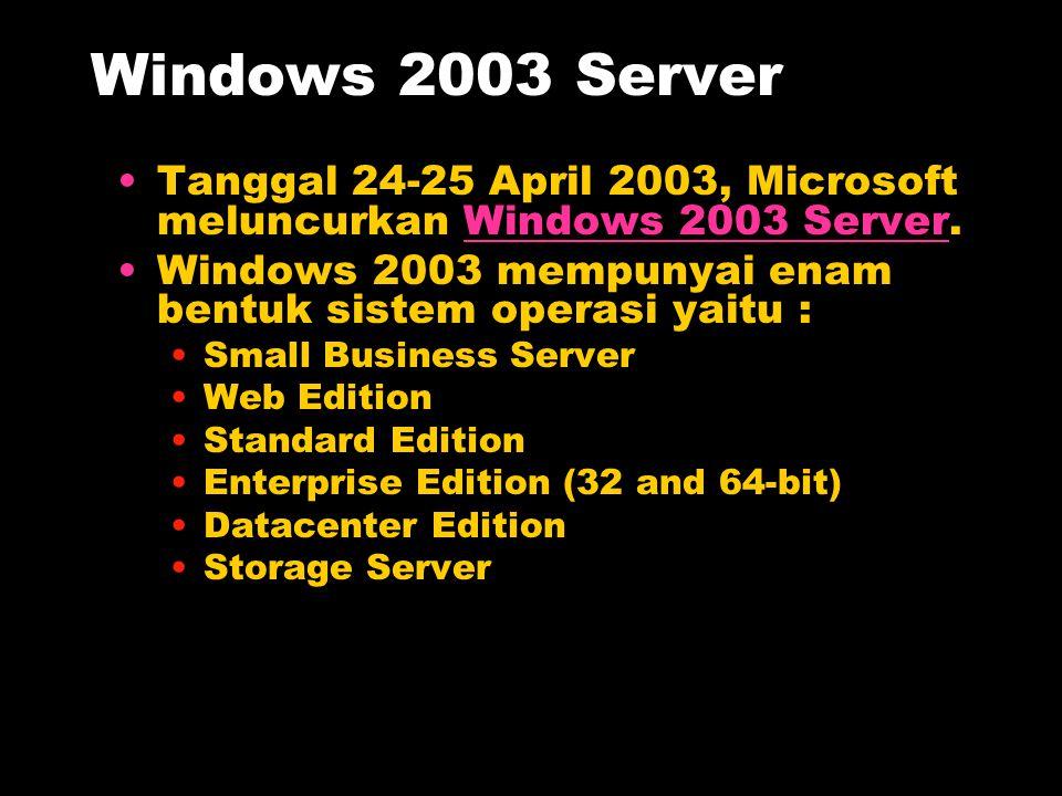 Windows 2003 Server Tanggal 24-25 April 2003, Microsoft meluncurkan Windows 2003 Server.Windows 2003 Server Windows 2003 mempunyai enam bentuk sistem