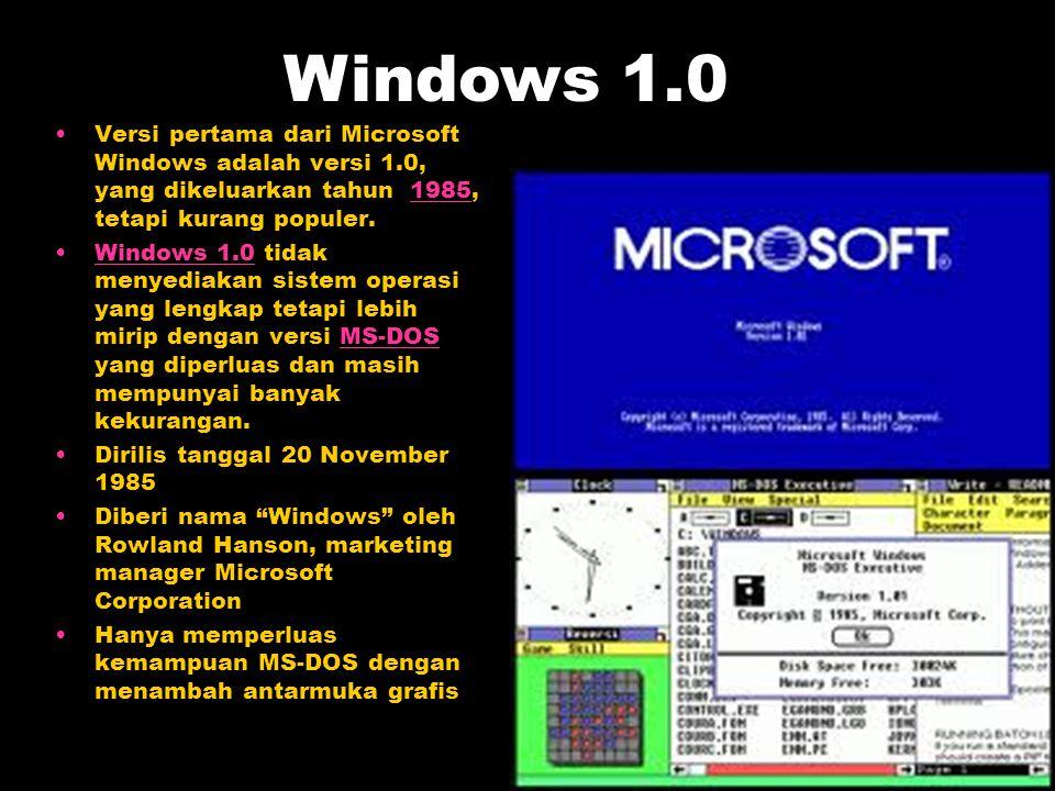 Versi pertama dari Microsoft Windows adalah versi 1.0, yang dikeluarkan tahun 1985, tetapi kurang populer.1985 Windows 1.0 tidak menyediakan sistem op