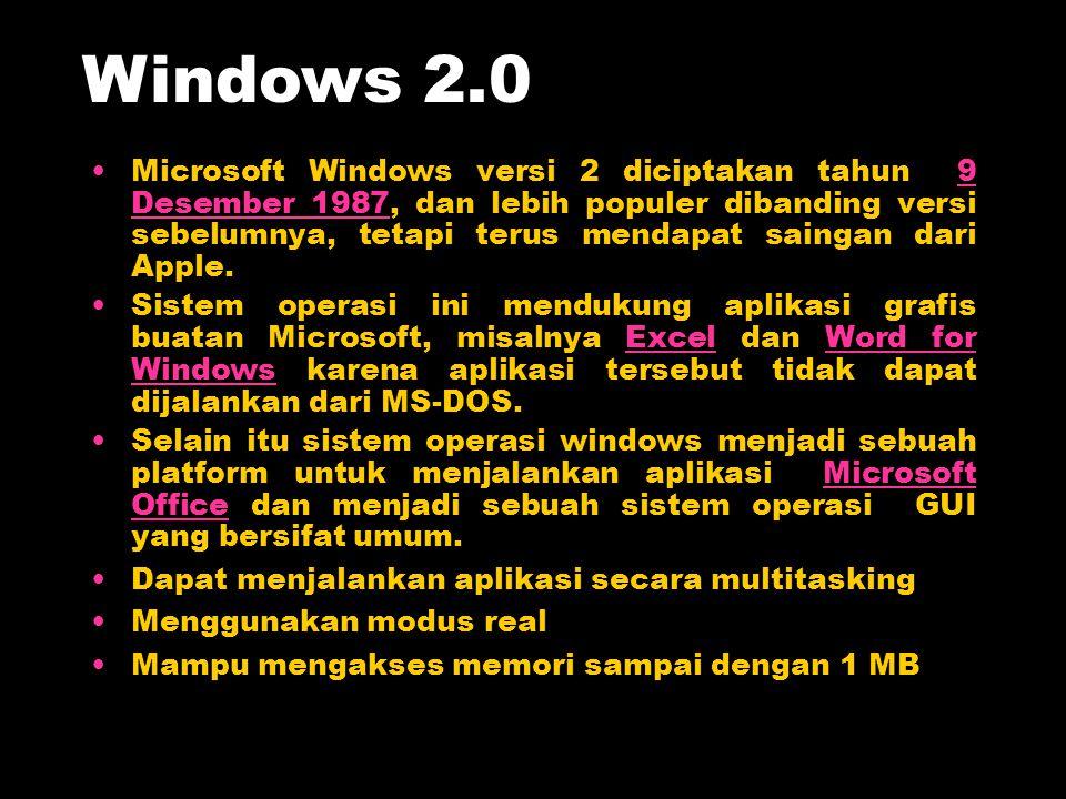 Microsoft Windows versi 2 diciptakan tahun 9 Desember 1987, dan lebih populer dibanding versi sebelumnya, tetapi terus mendapat saingan dari Apple.9 D
