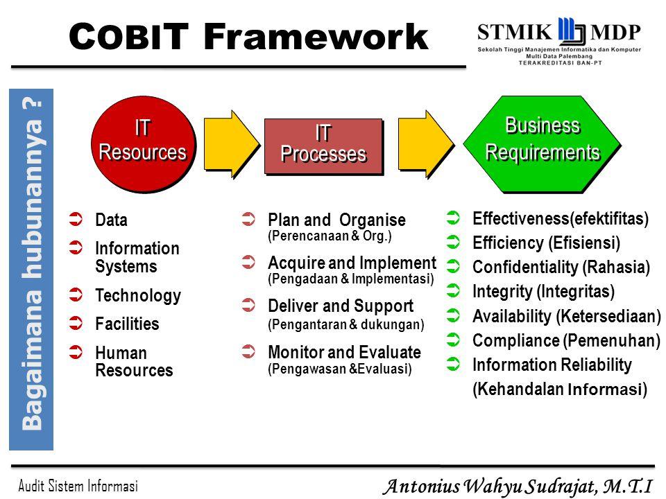 Audit Sistem Informasi Antonius Wahyu Sudrajat, M.T.I IT Processes IT Resources IT Resources Business Requirements  Data  Information Systems  Tech