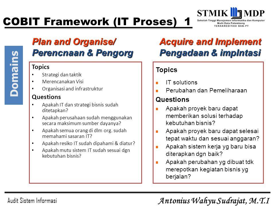 Audit Sistem Informasi Antonius Wahyu Sudrajat, M.T.I Topics Strategi dan taktik Merencanakan Visi Organisasi and infrastruktur Questions Apakah IT da