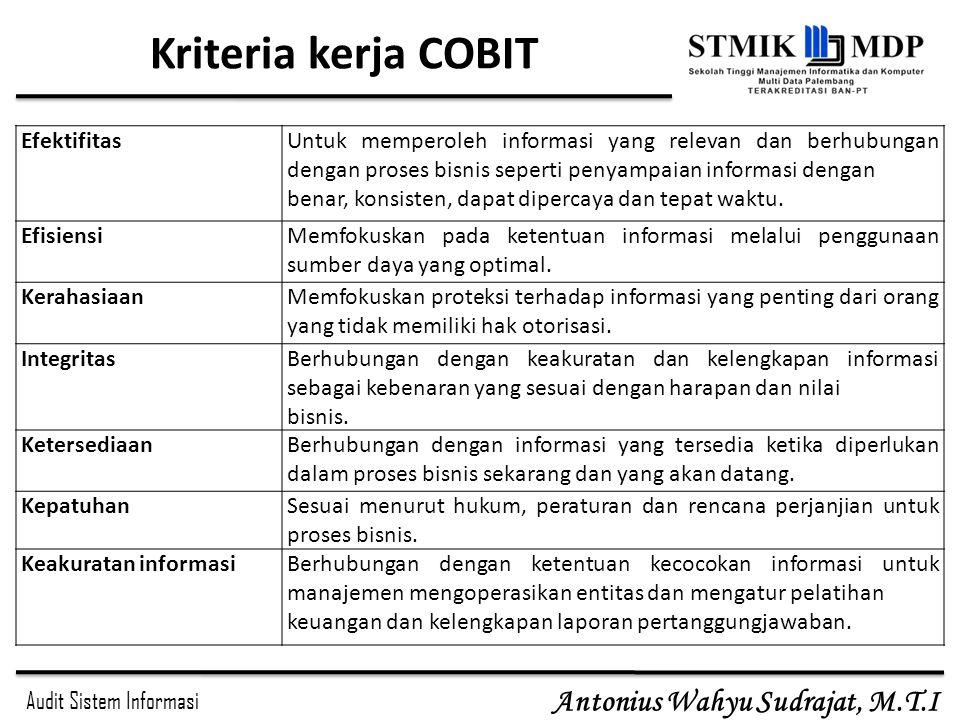 Audit Sistem Informasi Antonius Wahyu Sudrajat, M.T.I Kriteria kerja COBIT EfektifitasUntuk memperoleh informasi yang relevan dan berhubungan dengan p