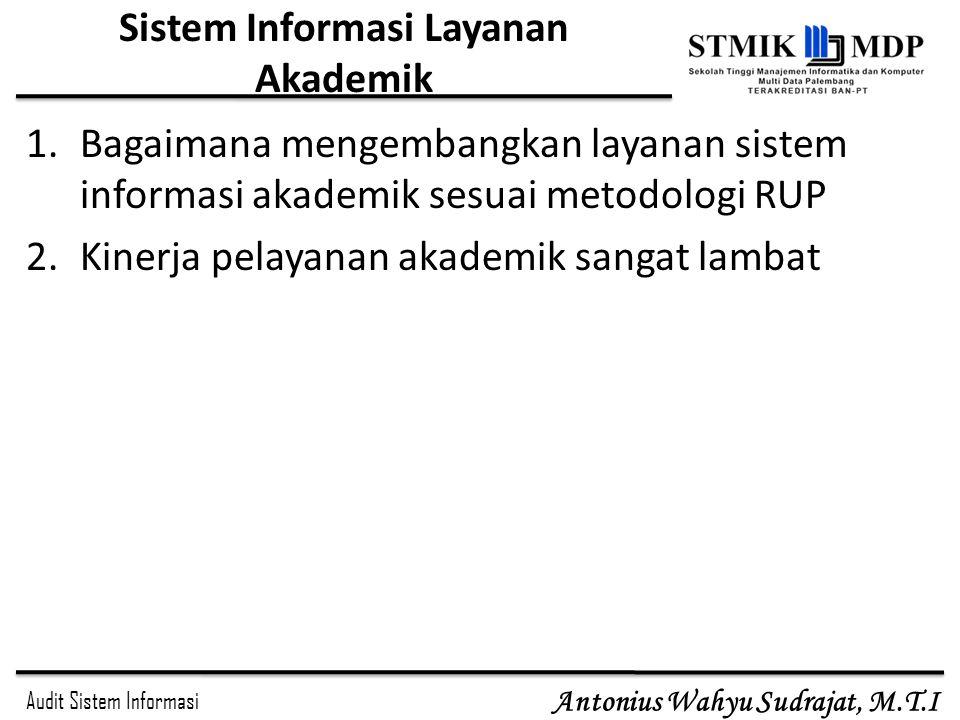Audit Sistem Informasi Antonius Wahyu Sudrajat, M.T.I Sistem Informasi Layanan Akademik 1.Bagaimana mengembangkan layanan sistem informasi akademik se