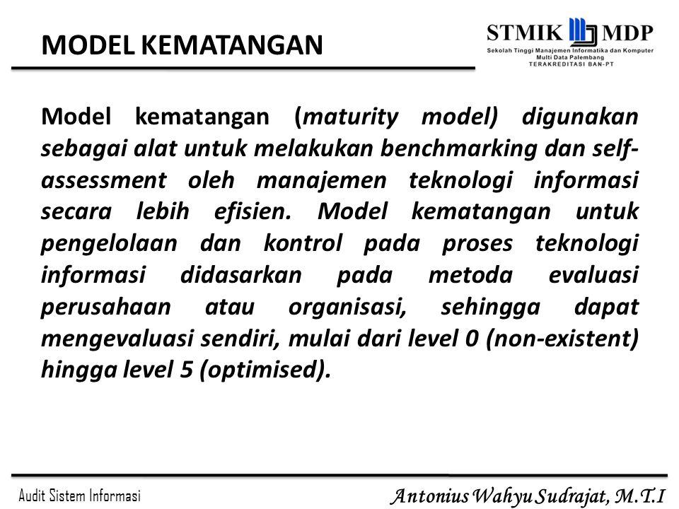 Audit Sistem Informasi Antonius Wahyu Sudrajat, M.T.I MODEL KEMATANGAN Model kematangan (maturity model) digunakan sebagai alat untuk melakukan benchm