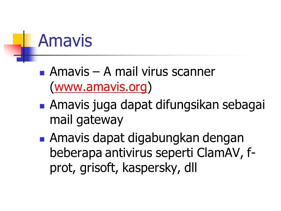 Amavis Amavis – A mail virus scanner (www.amavis.org)www.amavis.org Amavis juga dapat difungsikan sebagai mail gateway Amavis dapat digabungkan dengan