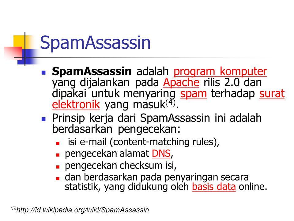 SpamAssassin SpamAssassin adalah program komputer yang dijalankan pada Apache rilis 2.0 dan dipakai untuk menyaring spam terhadap surat elektronik yan