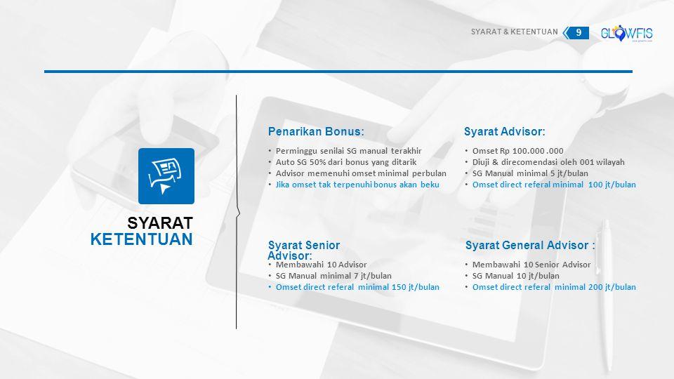 SYARAT KETENTUAN Penarikan Bonus: Perminggu senilai SG manual terakhir Auto SG 50% dari bonus yang ditarik Advisor memenuhi omset minimal perbulan Jik