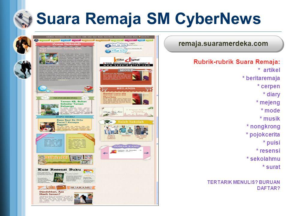 Suara Remaja SM CyberNews Rubrik-rubrik Suara Remaja: * artikel * beritaremaja * cerpen * diary * mejeng * mode * musik * nongkrong * pojokcerita * pu