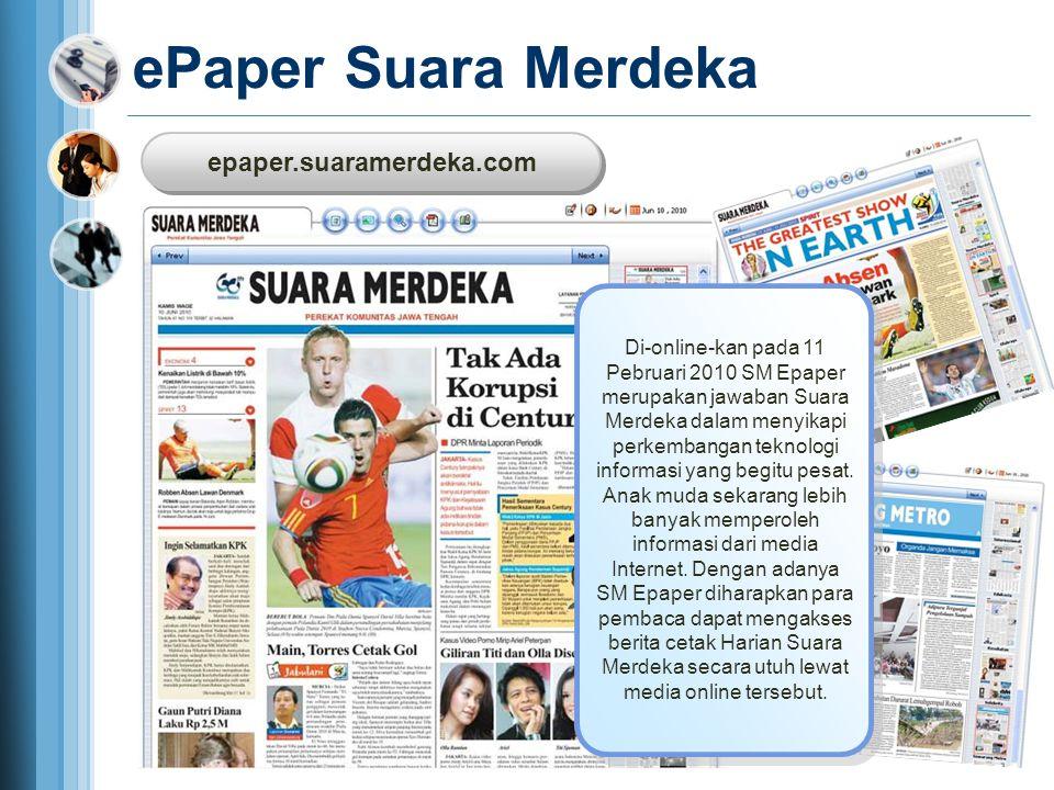 epaper.suaramerdeka.com epaper.suaramerdeka.com ePaper Suara Merdeka Di-online-kan pada 11 Pebruari 2010 SM Epaper merupakan jawaban Suara Merdeka dal