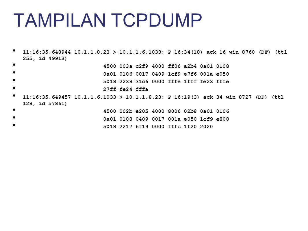 Menyimpan packets ke disk (harddisk, removeable disk) Pilihan packet logging Flat ASCII (teks), tcpdump format, XML, database (MySQL, MsSQL, ORACLE, dsb) Melakukan logging semua data dan kemudian diproses untuk mendeteksi aktivitas yang dicurigai PACKET LOGGER MODE