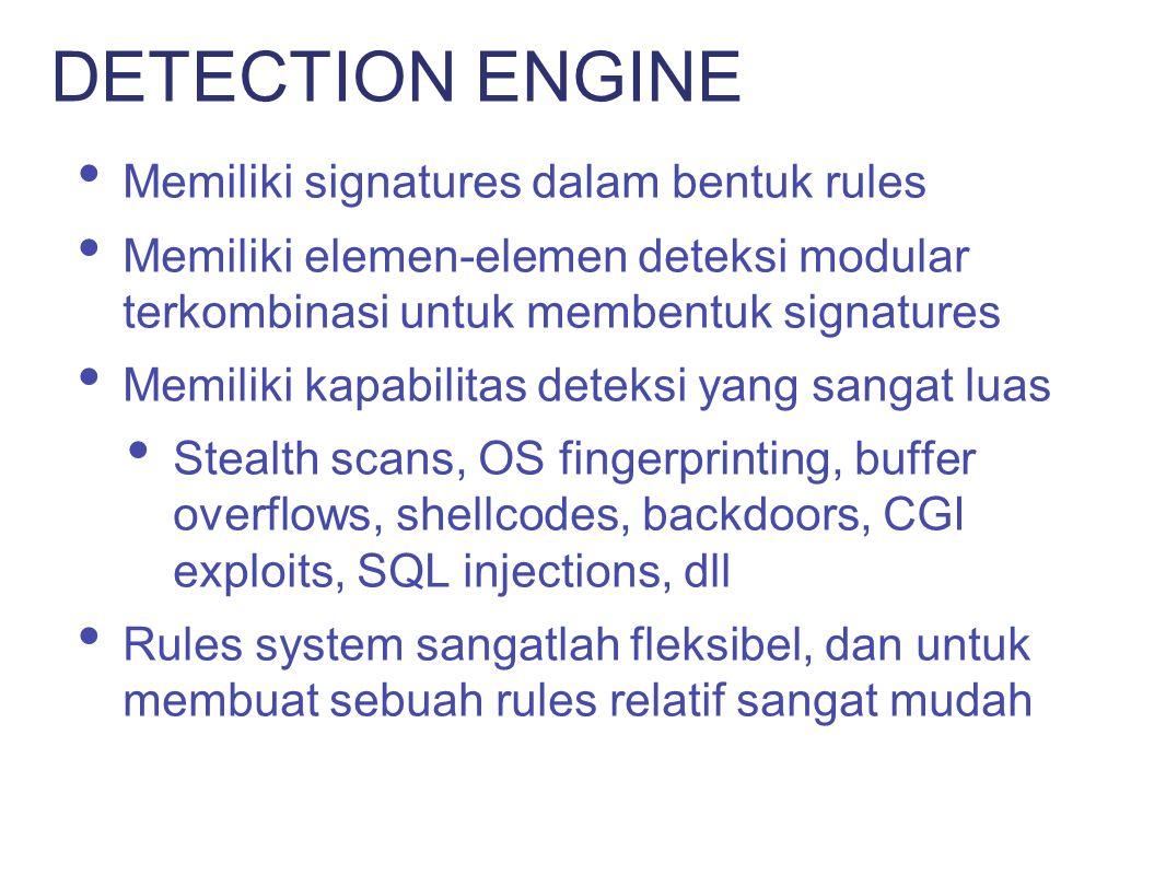 Pre-Processor Dilakukan analisis dan/atau manipulasi terhadap packets sebelum dikirimkan ke detection engine Detection Melakukan sebuah atau beberapa test pada sebuah bagian dari packet Output Memberikan report dan alert PLUG-INS