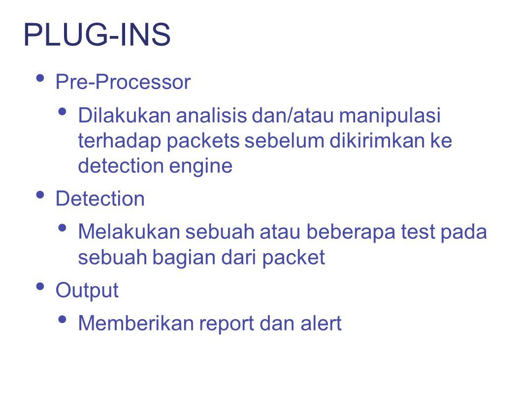 Standard packet sniffing Policy Enforcement Honeypot monitor Scan detections PENGGUNAAN SNORT