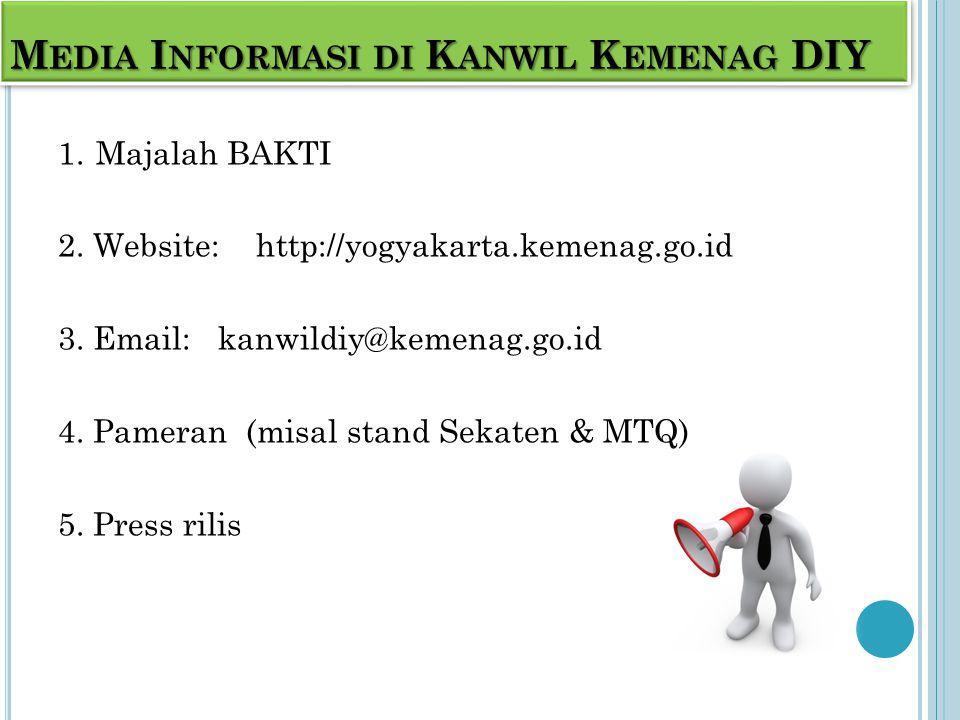 M EDIA I NFORMASI DI K ANWIL K EMENAG DIY 1. Majalah BAKTI 2.
