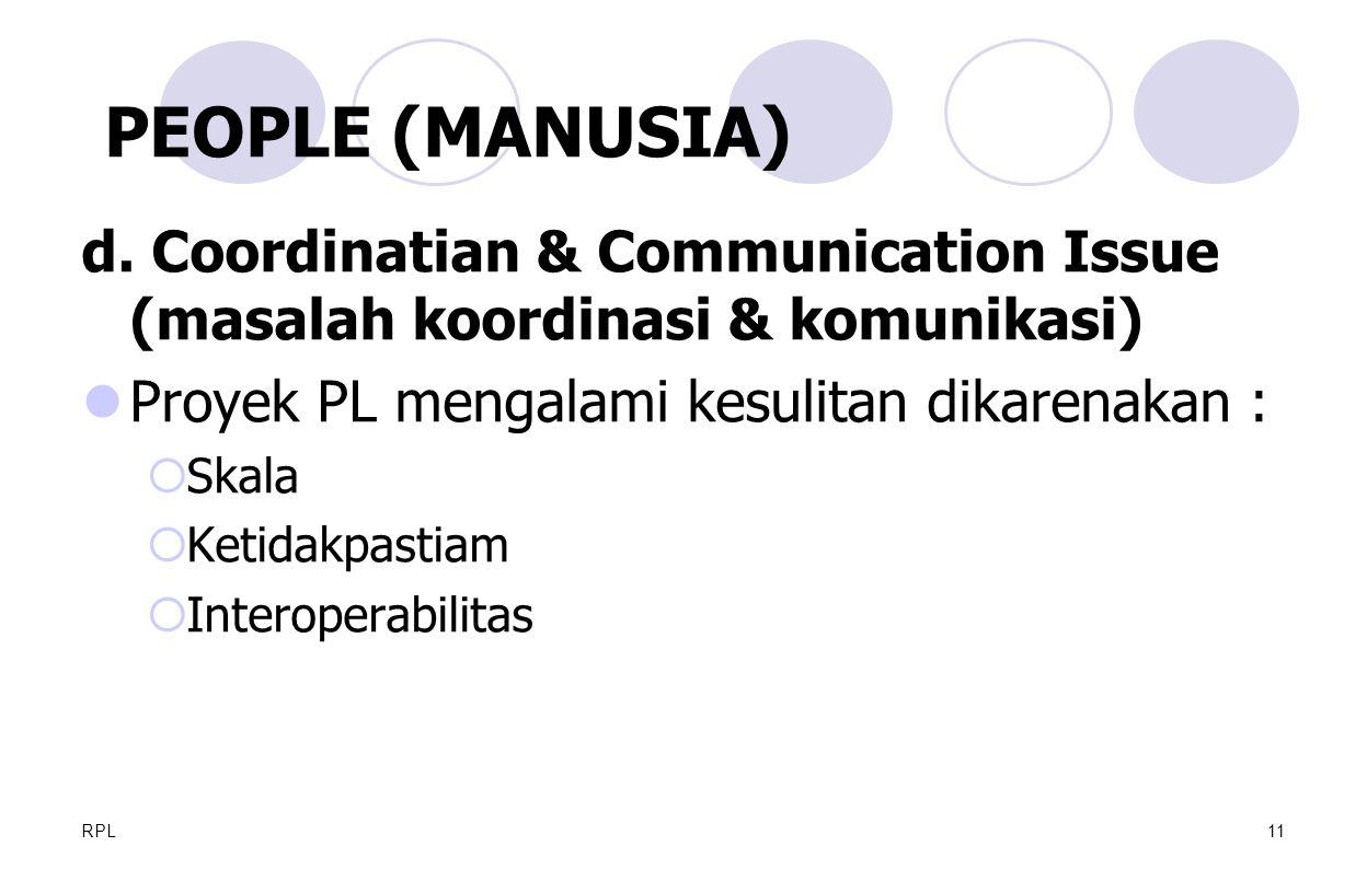 RPL11 d. Coordinatian & Communication Issue (masalah koordinasi & komunikasi) Proyek PL mengalami kesulitan dikarenakan :  Skala  Ketidakpastiam  I