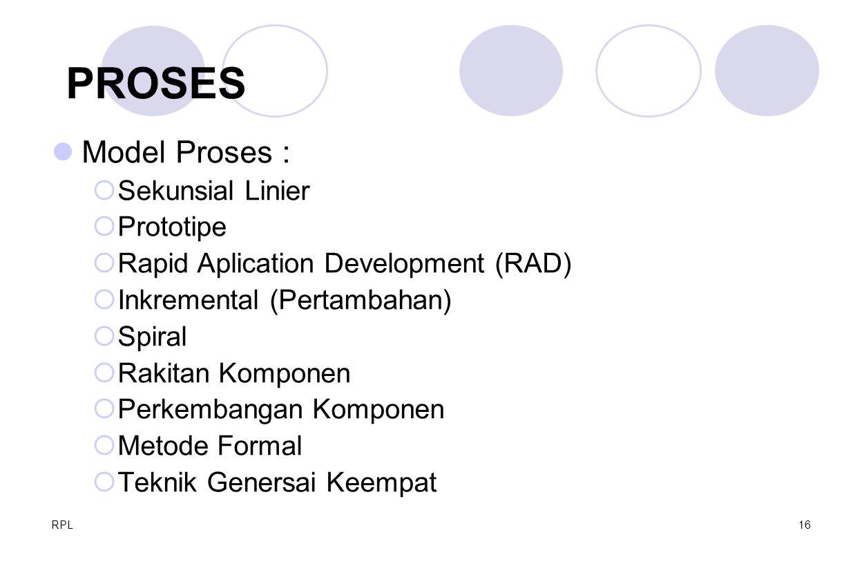 RPL16 Model Proses :  Sekunsial Linier  Prototipe  Rapid Aplication Development (RAD)  Inkremental (Pertambahan)  Spiral  Rakitan Komponen  Per