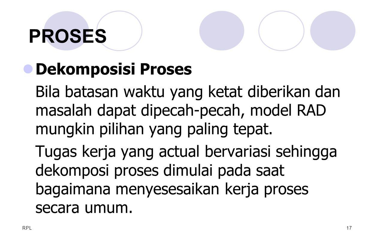 RPL17 Dekomposisi Proses Bila batasan waktu yang ketat diberikan dan masalah dapat dipecah-pecah, model RAD mungkin pilihan yang paling tepat. Tugas k