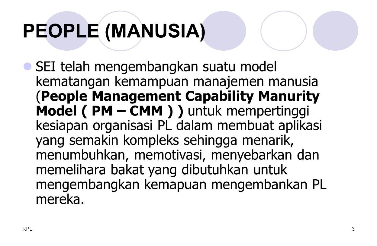 RPL4 Model kematangan manajemen manusia membatasi pada  Rekruitmen  Seleksi  Manajemen unjuk kerja  Pelatihan  Kompensasi  Pemgembangan karir  Desain kerja & organisasi  Perkembangan karir tim /  kultur PEOPLE (MANUSIA)