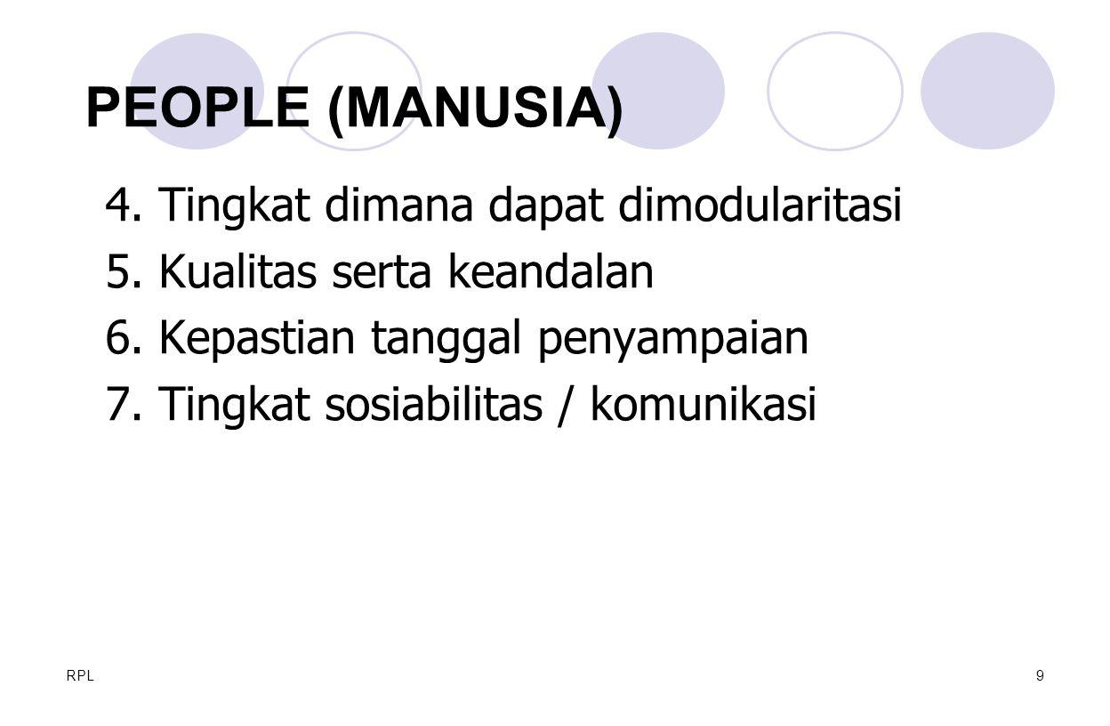 RPL9 4. Tingkat dimana dapat dimodularitasi 5. Kualitas serta keandalan 6. Kepastian tanggal penyampaian 7. Tingkat sosiabilitas / komunikasi PEOPLE (