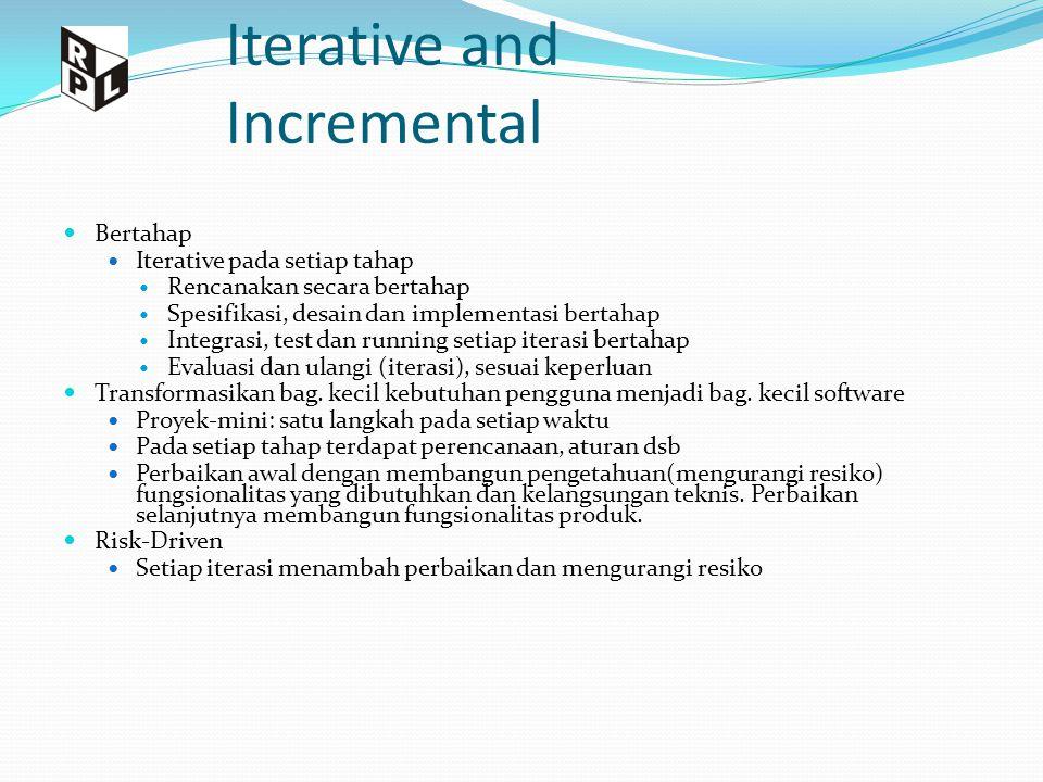 Iterative and Incremental Bertahap Iterative pada setiap tahap Rencanakan secara bertahap Spesifikasi, desain dan implementasi bertahap Integrasi, tes