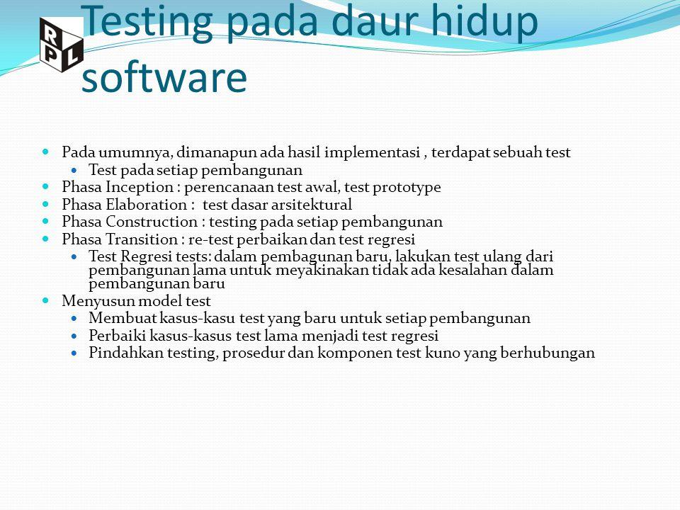 Testing pada daur hidup software Pada umumnya, dimanapun ada hasil implementasi, terdapat sebuah test Test pada setiap pembangunan Phasa Inception : p