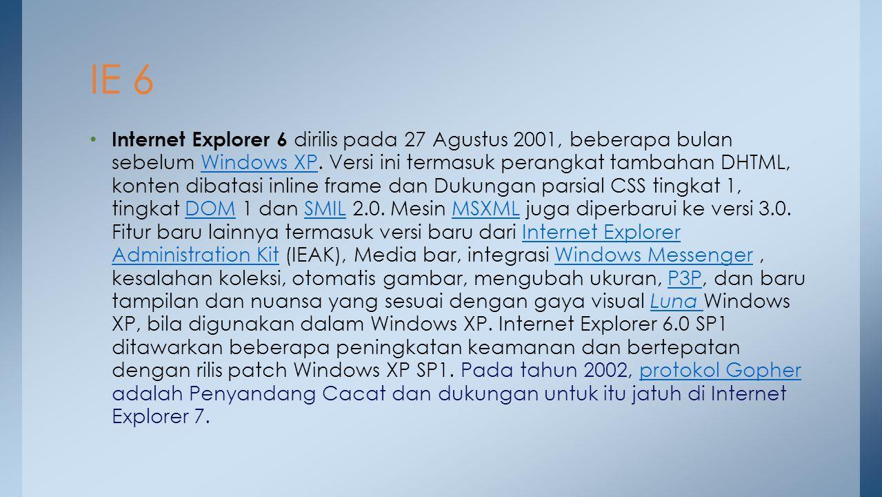 Internet Explorer 6 dirilis pada 27 Agustus 2001, beberapa bulan sebelum Windows XP. Versi ini termasuk perangkat tambahan DHTML, konten dibatasi inli