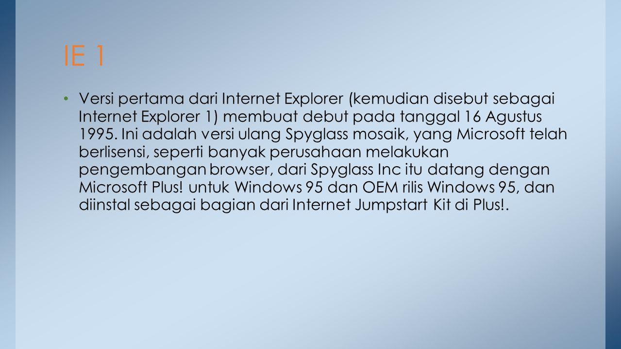 Versi pertama dari Internet Explorer (kemudian disebut sebagai Internet Explorer 1) membuat debut pada tanggal 16 Agustus 1995. Ini adalah versi ulang