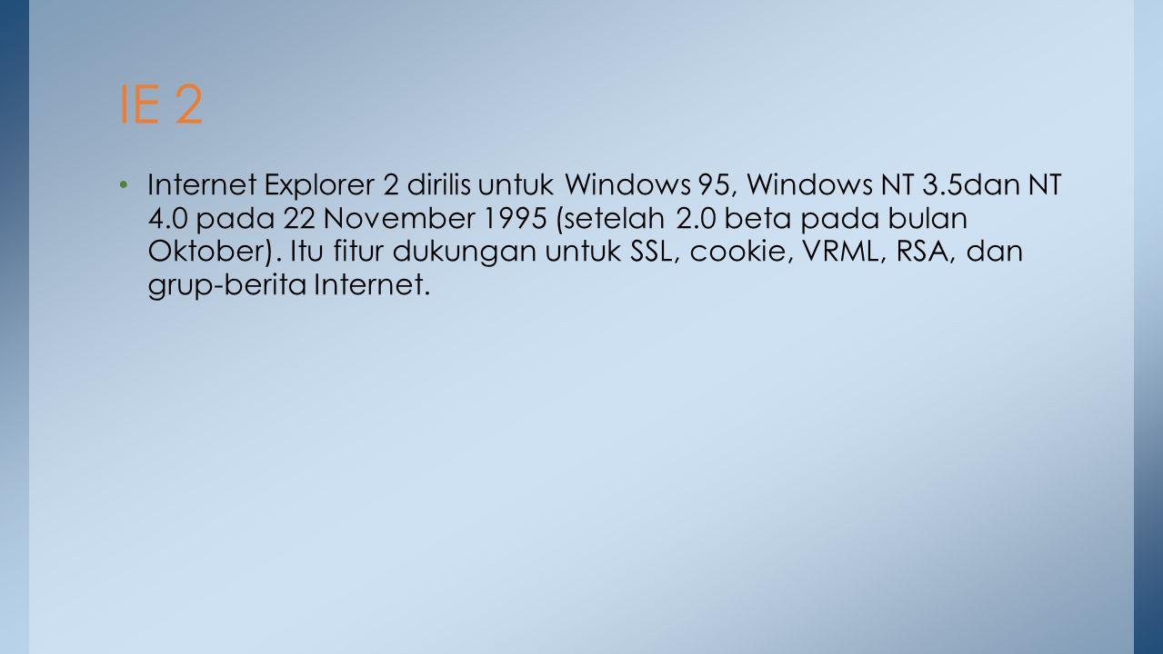 Internet Explorer 2 dirilis untuk Windows 95, Windows NT 3.5dan NT 4.0 pada 22 November 1995 (setelah 2.0 beta pada bulan Oktober). Itu fitur dukungan