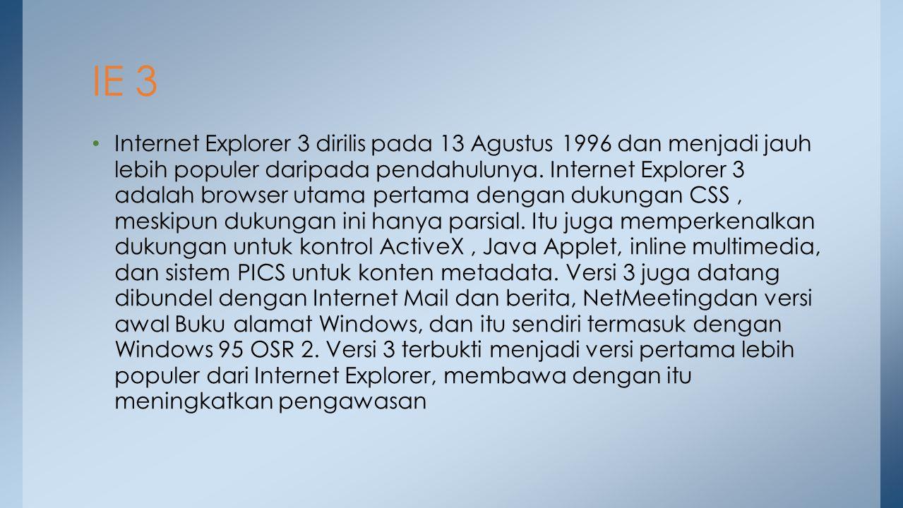 Internet Explorer 4, dirilis pada bulan September 1997, memperdalam tingkat integrasi antara web browser dan sistem operasi yang mendasari.