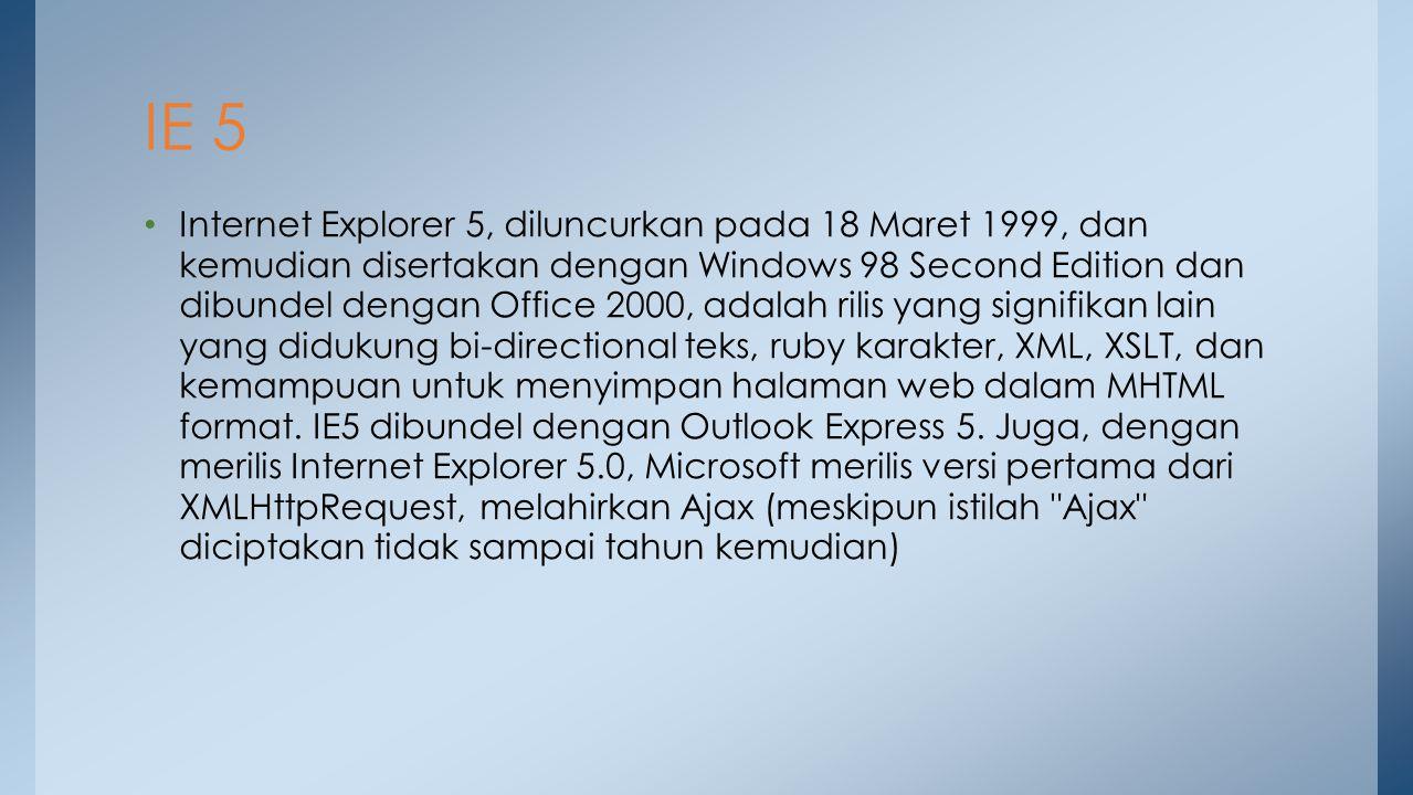 Internet Explorer 5, diluncurkan pada 18 Maret 1999, dan kemudian disertakan dengan Windows 98 Second Edition dan dibundel dengan Office 2000, adalah