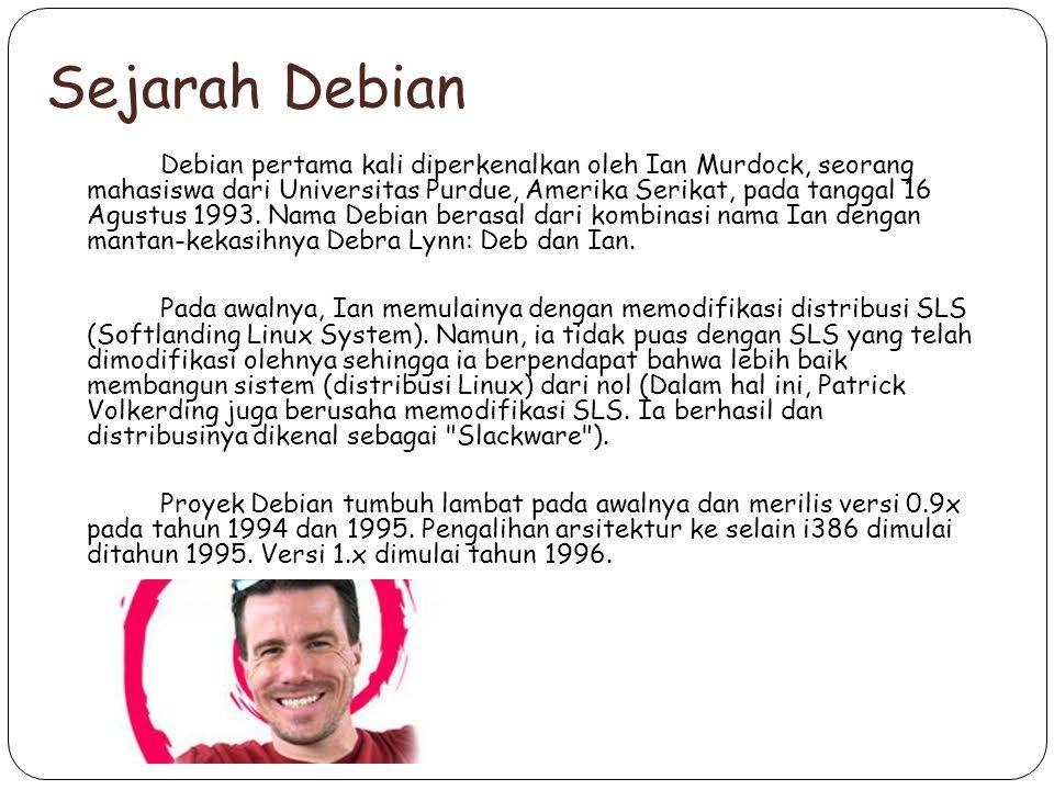 Sejarah Debian Debian pertama kali diperkenalkan oleh Ian Murdock, seorang mahasiswa dari Universitas Purdue, Amerika Serikat, pada tanggal 16 Agustus 1993.