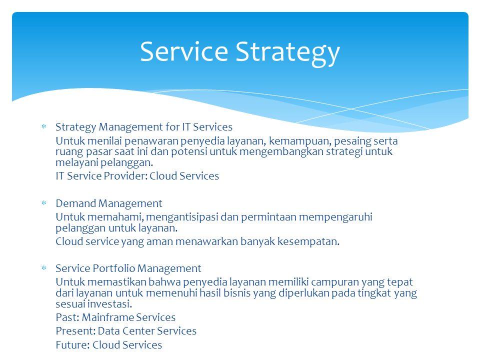  Strategy Management for IT Services Untuk menilai penawaran penyedia layanan, kemampuan, pesaing serta ruang pasar saat ini dan potensi untuk mengembangkan strategi untuk melayani pelanggan.