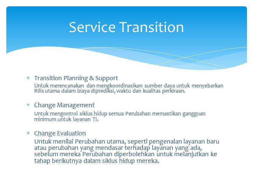  Transition Planning & Support Untuk merencanakan dan mengkoordinasikan sumber daya untuk menyebarkan Rilis utama dalam biaya diprediksi, waktu dan kualitas perkiraan.