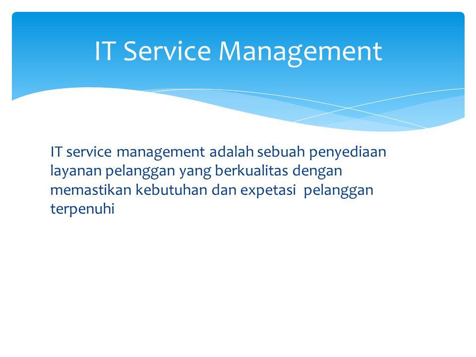 IT service management adalah sebuah penyediaan layanan pelanggan yang berkualitas dengan memastikan kebutuhan dan expetasi pelanggan terpenuhi IT Service Management
